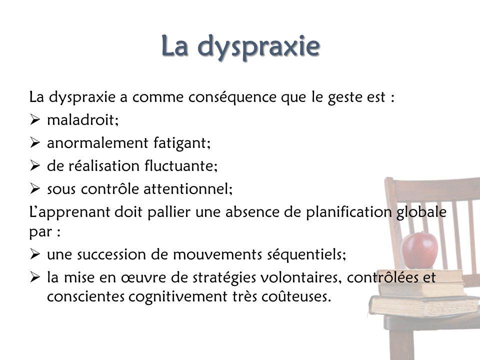 La dyspraxie La dyspraxie a comme conséquence que le geste est : maladroit; anormalement fatigant; de réalisation fluctuante; sous contrôle attentionn