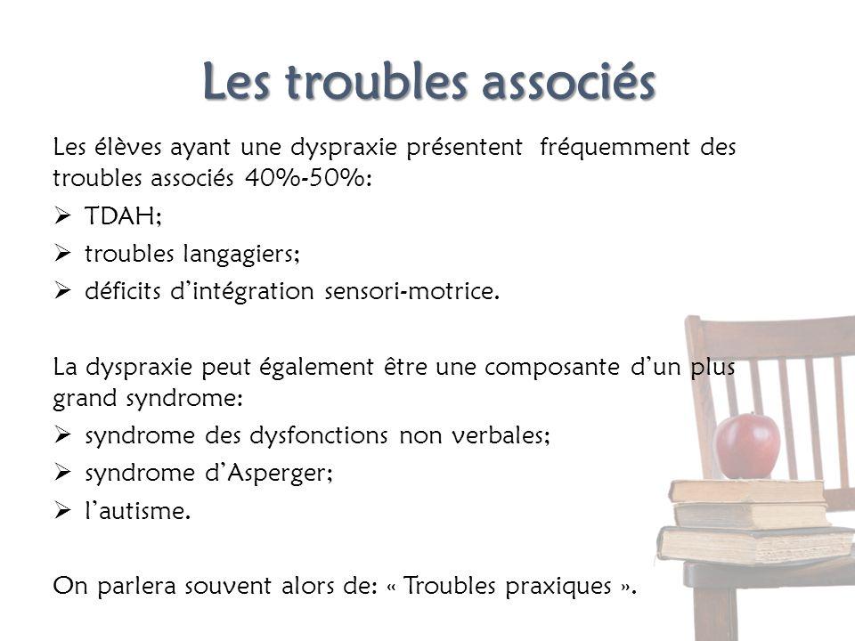 Les troubles associés Les élèves ayant une dyspraxie présentent fréquemment des troubles associés 40%-50%: TDAH; troubles langagiers; déficits dintégr