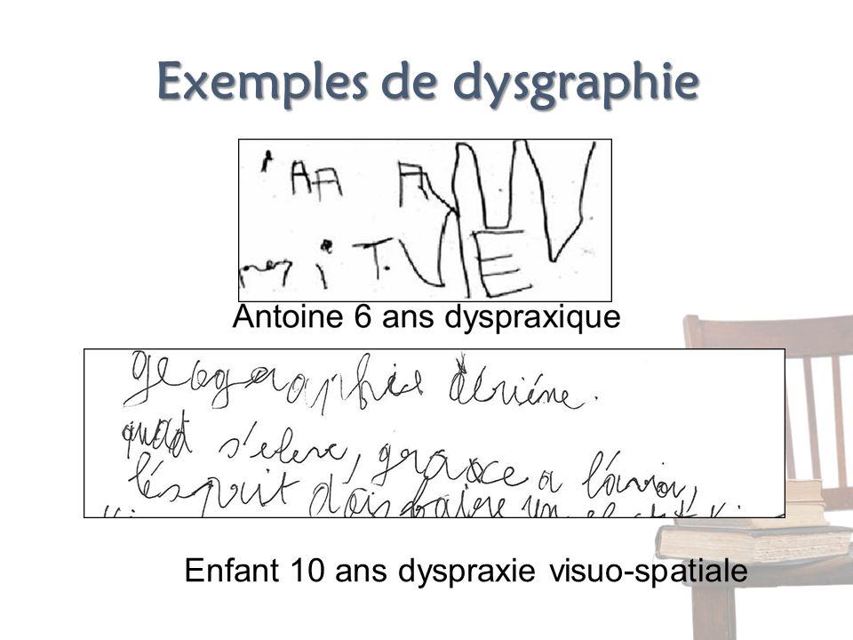 Exemples de dysgraphie Enfant 10 ans dyspraxie visuo-spatiale