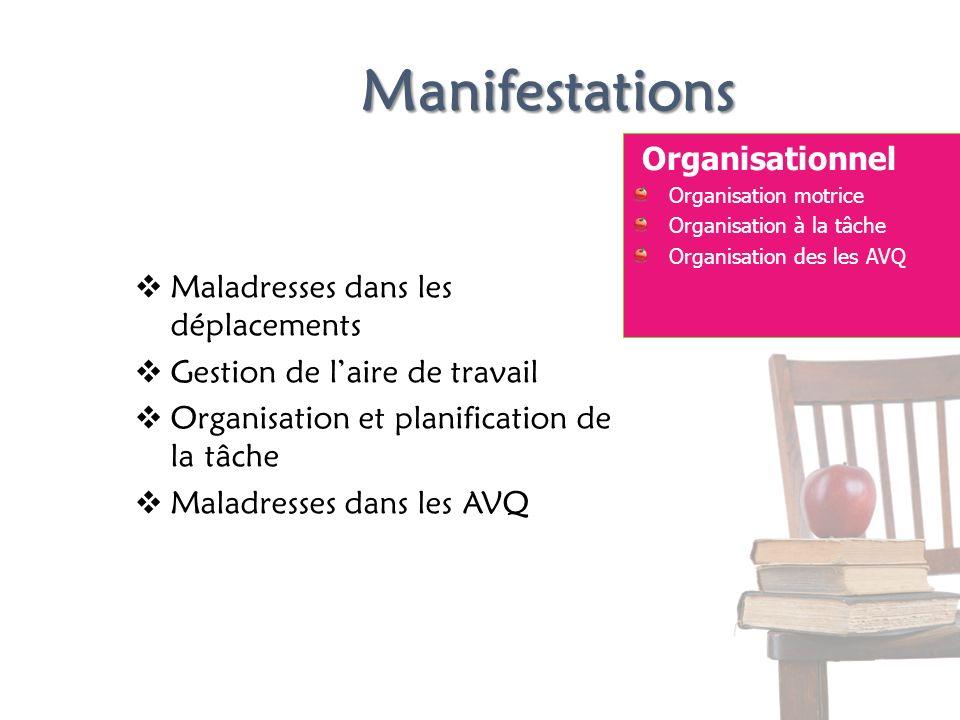 Manifestations Organisationnel Organisation motrice Organisation à la tâche Organisation des les AVQ Maladresses dans les déplacements Gestion de lair