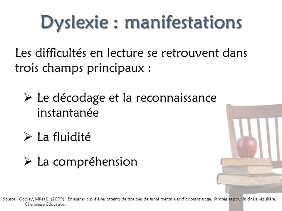 Dyslexie : manifestations Les difficultés en lecture se retrouvent dans trois champs principaux : Le décodage et la reconnaissance instantanée La flui