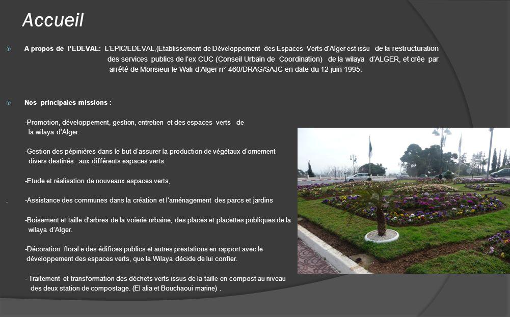 Accueil A propos de lEDEVAL: LEPIC/EDEVAL,(Etablissement de Développement des Espaces Verts d'Alger est issu de la restructuration des services public