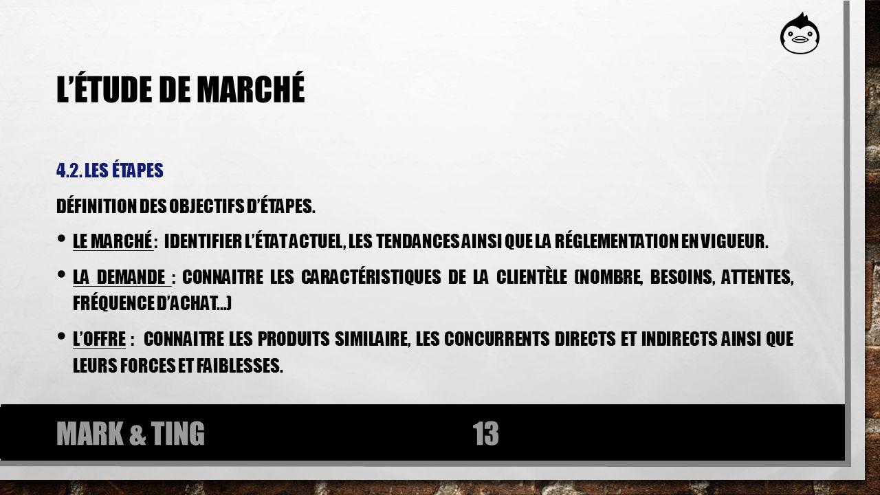 LÉTUDE DE MARCHÉ 4.2. LES ÉTAPES DÉFINITION DES OBJECTIFS DÉTAPES. LE MARCHÉ : IDENTIFIER LÉTAT ACTUEL, LES TENDANCES AINSI QUE LA RÉGLEMENTATION EN V
