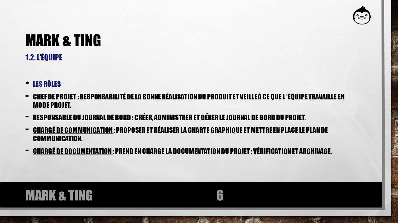 1.2. LÉQUIPE LES RÔLES - CHEF DE PROJET : RESPONSABILITÉ DE LA BONNE RÉALISATION DU PRODUIT ET VEILLE À CE QUE L ÉQUIPE TRAVAILLE EN MODE PROJET. - RE