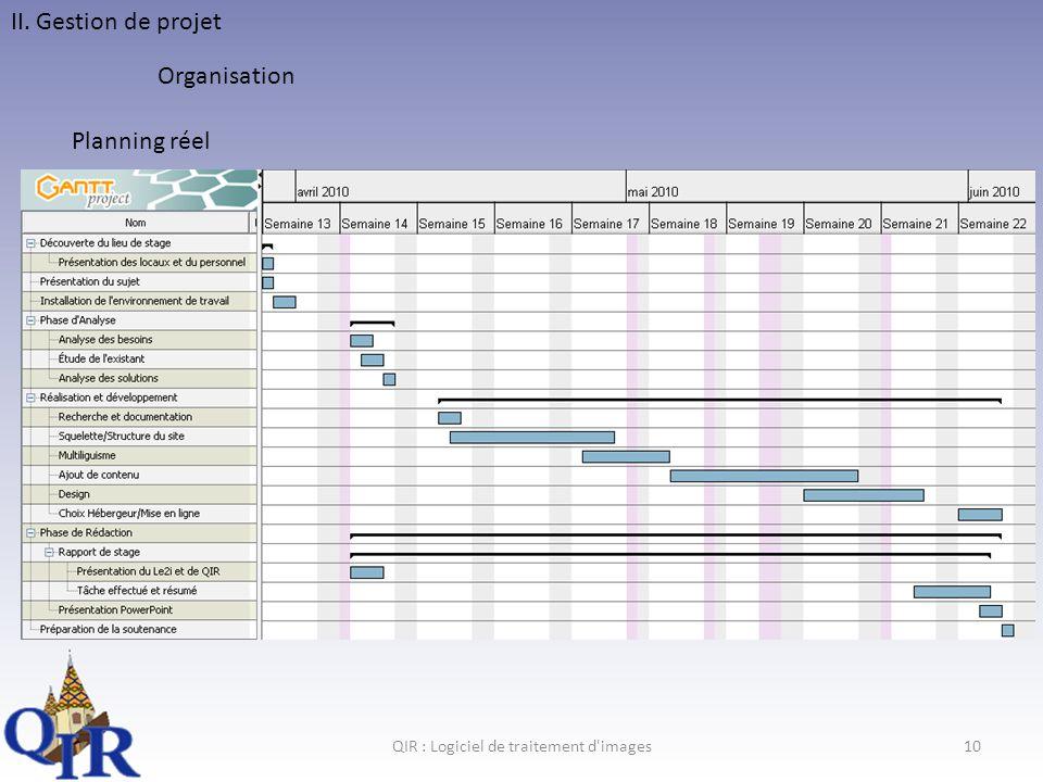 QIR : Logiciel de traitement d images10 II. Gestion de projet Organisation Planning réel