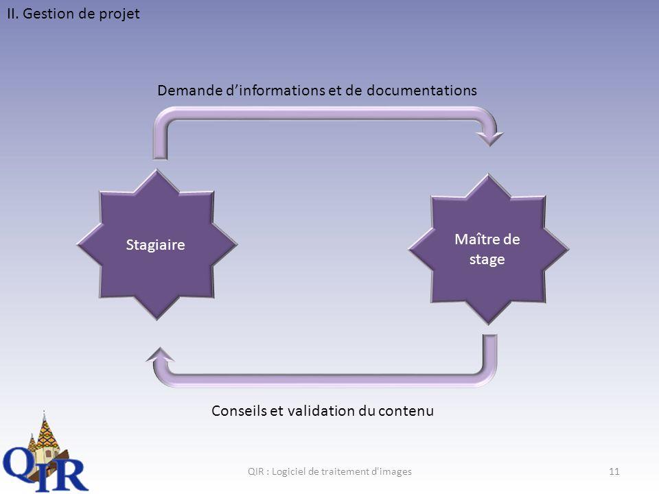 QIR : Logiciel de traitement d images11 II.