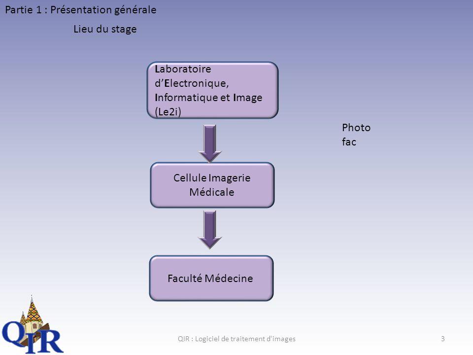 QIR : Logiciel de traitement d images3 Partie 1 : Présentation générale Lieu du stage Laboratoire dElectronique, Informatique et Image (Le2i) Cellule Imagerie Médicale Faculté Médecine Photo fac