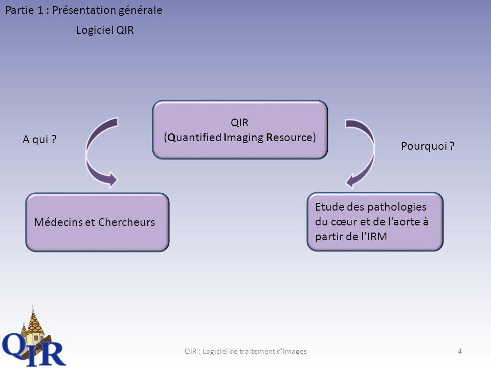 QIR : Logiciel de traitement d images4 Partie 1 : Présentation générale Logiciel QIR QIR (Quantified Imaging Resource) Médecins et Chercheurs Etude des pathologies du cœur et de laorte à partir de lIRM A qui .