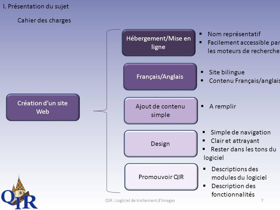 QIR : Logiciel de traitement d images18 Conclusion Ce que jai fait Ce qui reste a faire Critique général