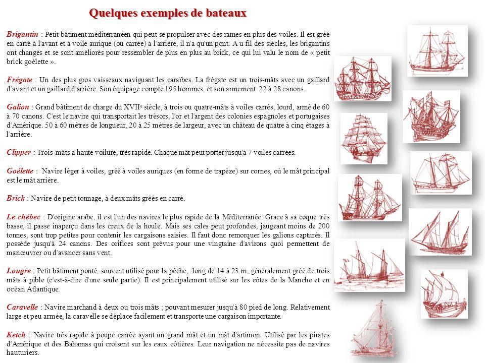 Quelques exemples de bateaux Brigantin : Petit bâtiment méditerranéen qui peut se propulser avec des rames en plus des voiles. Il est gréé en carré à