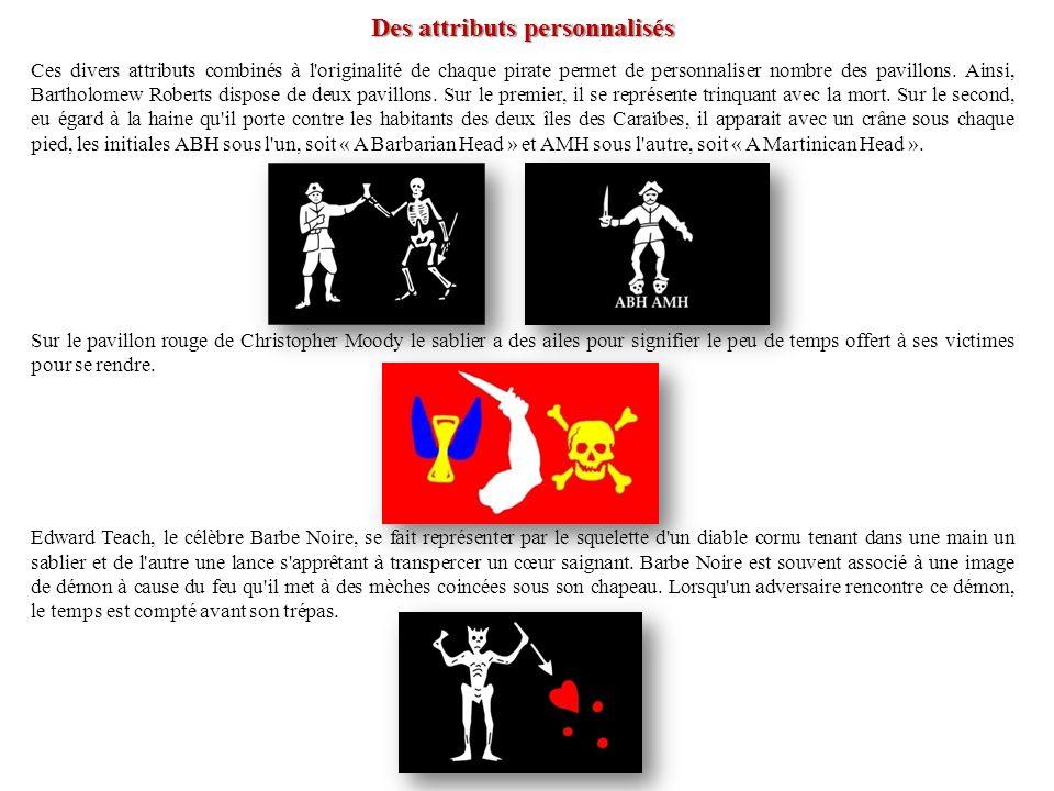 Des attributs personnalisés Ces divers attributs combinés à l'originalité de chaque pirate permet de personnaliser nombre des pavillons. Ainsi, Bartho