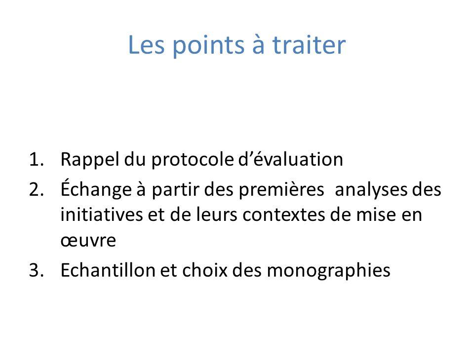 Les points à traiter 1.Rappel du protocole dévaluation 2.Échange à partir des premières analyses des initiatives et de leurs contextes de mise en œuvr