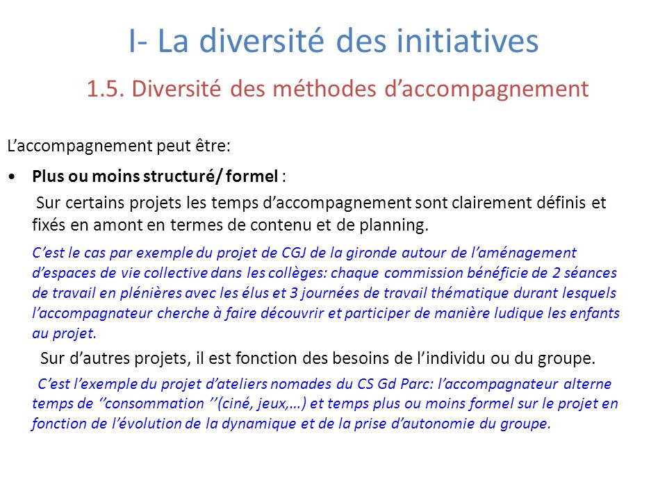 I- La diversité des initiatives 1.5.