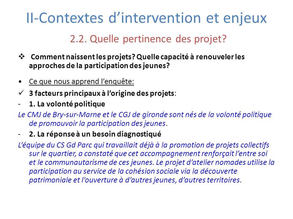 II-Contextes dintervention et enjeux 2.2. Quelle pertinence des projet? Comment naissent les projets? Quelle capacité à renouveler les approches de la