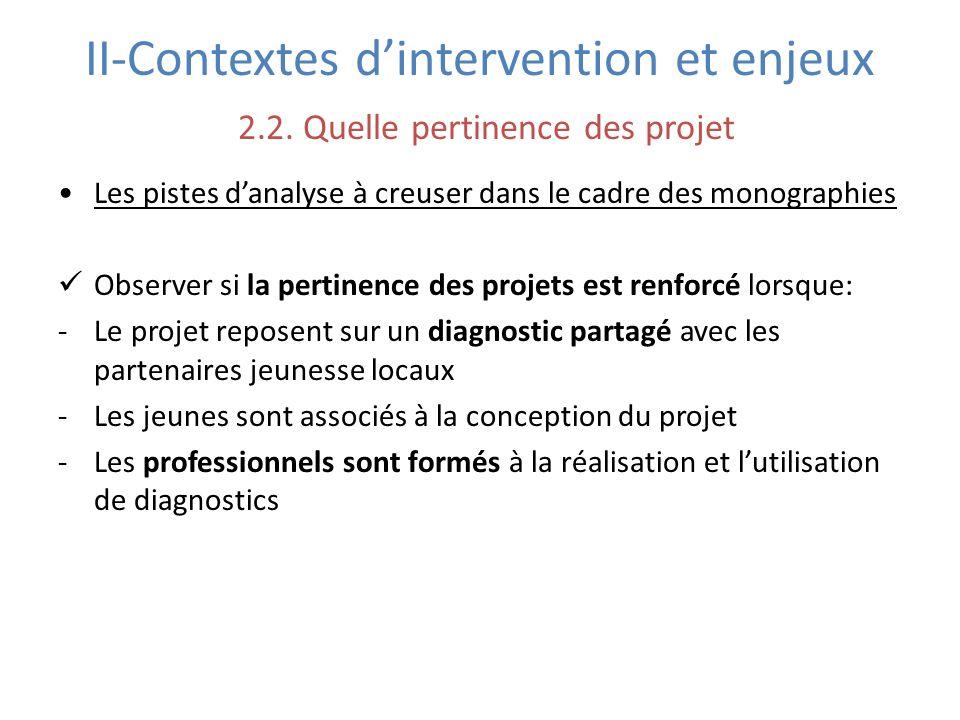 II-Contextes dintervention et enjeux 2.2. Quelle pertinence des projet Les pistes danalyse à creuser dans le cadre des monographies Observer si la per