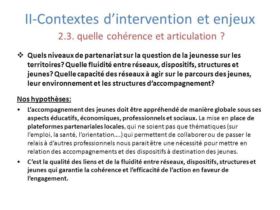 II-Contextes dintervention et enjeux 2.3. quelle cohérence et articulation ? Quels niveaux de partenariat sur la question de la jeunesse sur les terri