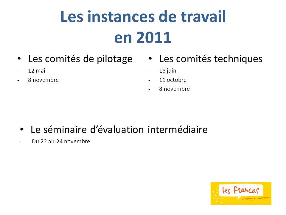 Les instances de travail en 2011 Les comités de pilotage -12 mai -8 novembre Les comités techniques -16 juin -11 octobre -8 novembre Le séminaire déva