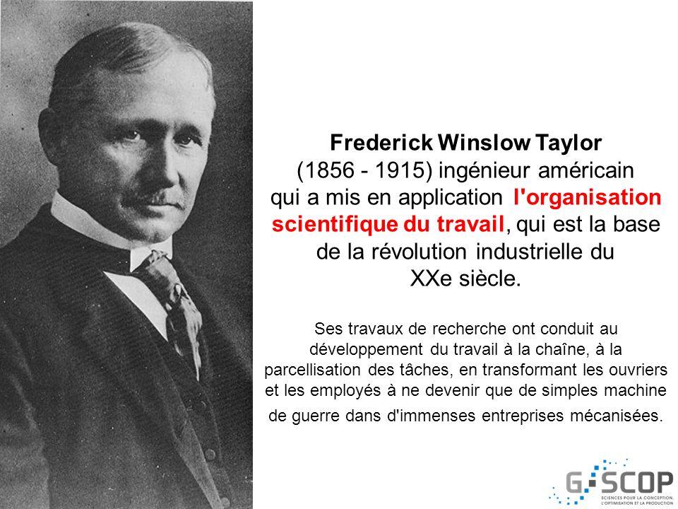 Frederick Winslow Taylor Division des tâches Séparation conception - exécution