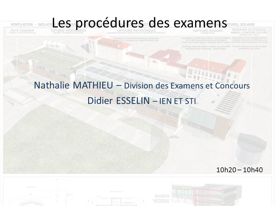 Les procédures des examens Nathalie MATHIEU – Division des Examens et Concours Didier ESSELIN – IEN ET STI 10h20 – 10h40