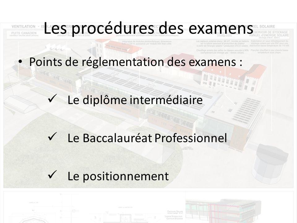 Les procédures des examens Points de réglementation des examens : Le diplôme intermédiaire Le Baccalauréat Professionnel Le positionnement