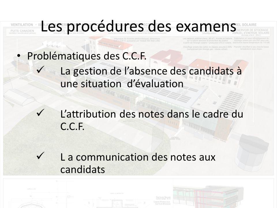 Les procédures des examens Problématiques des C.C.F.