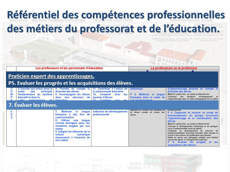 Praticien expert des apprentissages.P5. Evaluer les progrès et les acquisitions des élèves.