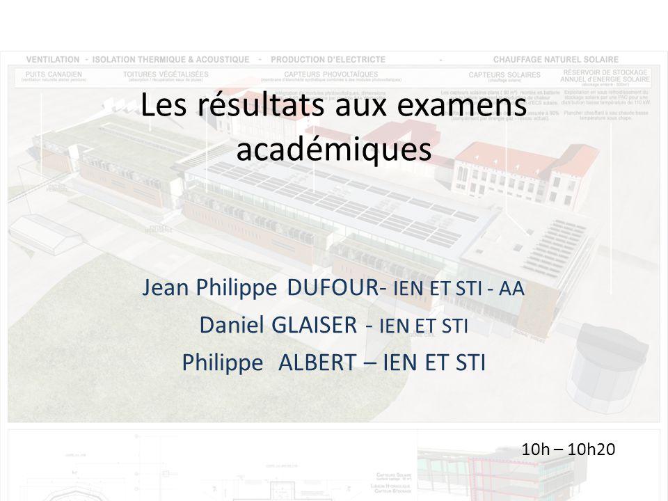 Les résultats aux examens académiques Jean Philippe DUFOUR- IEN ET STI - AA Daniel GLAISER - IEN ET STI Philippe ALBERT – IEN ET STI 10h – 10h20