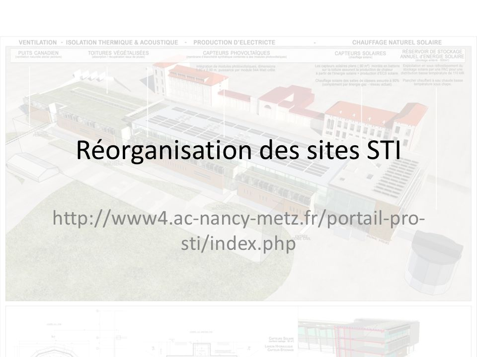 Réorganisation des sites STI http://www4.ac-nancy-metz.fr/portail-pro- sti/index.php