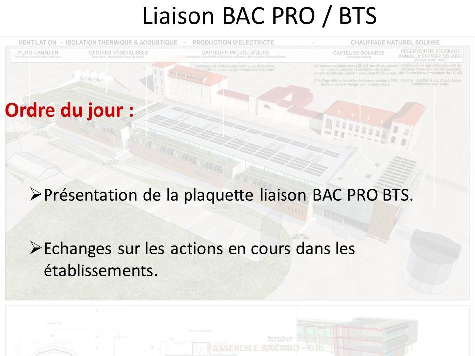 PASSERELLE BAC PRO - BTS Liaison BAC PRO / BTS Ordre du jour : Présentation de la plaquette liaison BAC PRO BTS.