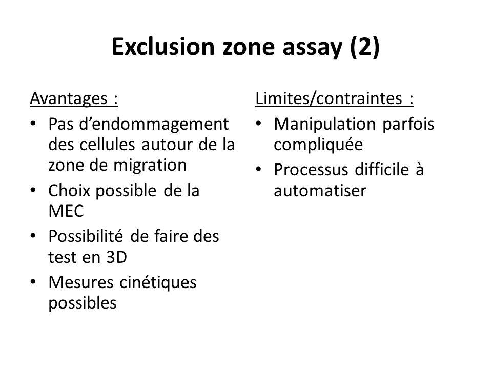 Exclusion zone assay (2) Avantages : Pas dendommagement des cellules autour de la zone de migration Choix possible de la MEC Possibilité de faire des
