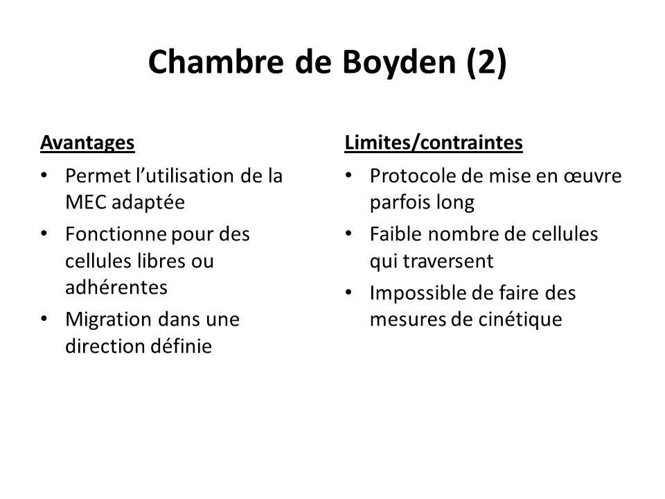 Chambre de Boyden (2) Avantages Permet lutilisation de la MEC adaptée Fonctionne pour des cellules libres ou adhérentes Migration dans une direction d