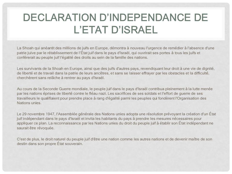 DECLARATION DINDEPENDANCE DE LETAT DISRAEL ERETS-ISRAEL est le lieu où naquit le peuple juif.