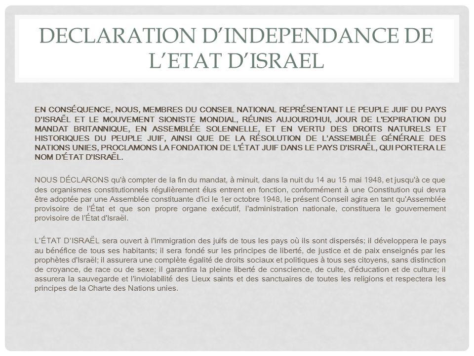 DECLARATION DINDEPENDANCE DE LETAT DISRAEL La Shoah qui anéantit des millions de juifs en Europe, démontra à nouveau l'urgence de remédier à l'absence