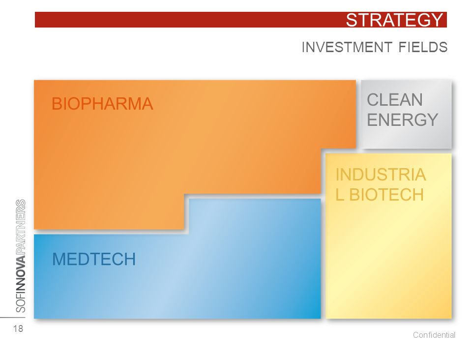 Confidential STRATEGY BIOPHARMA CLEAN ENERGY MEDTECH INDUSTRIA L BIOTECH INVESTMENT FIELDS 18