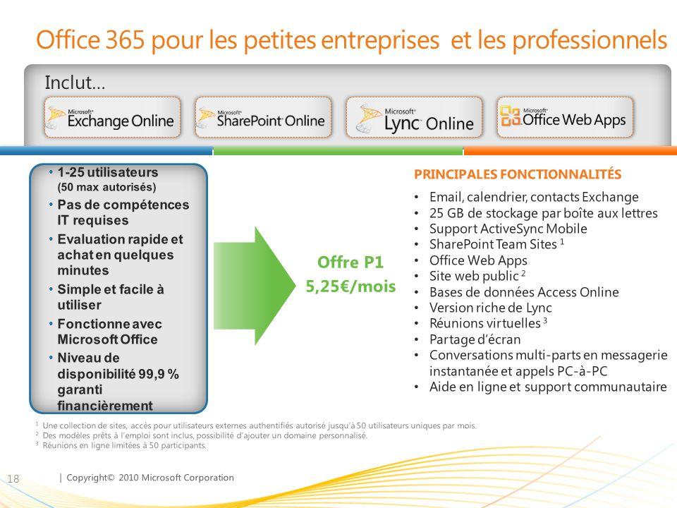 | Copyright© 2010 Microsoft Corporation Office 365 pour les petites entreprises et les professionnels Inclut… 18 Email, calendrier, contacts Exchange