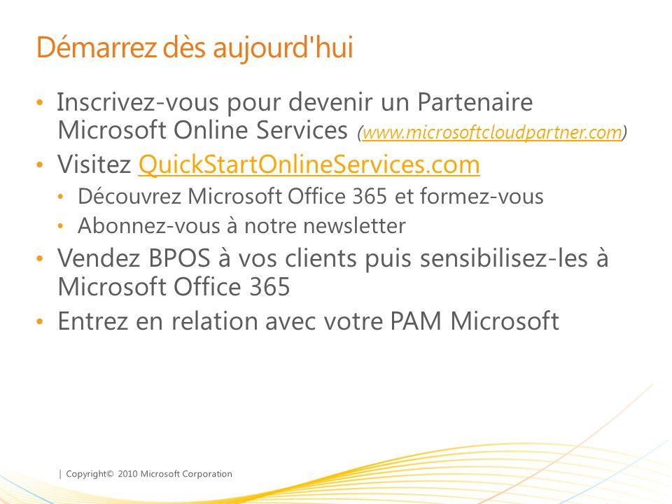 | Copyright© 2010 Microsoft Corporation Démarrez dès aujourd'hui Inscrivez-vous pour devenir un Partenaire Microsoft Online Services (www.microsoftclo