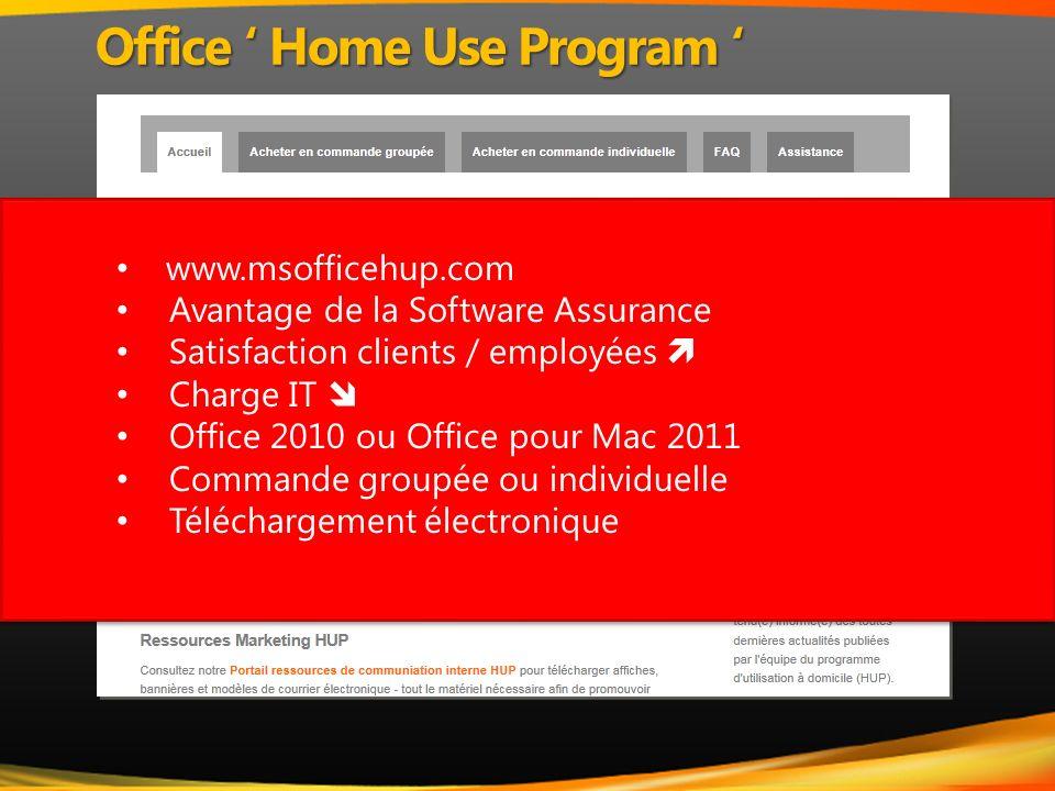 www.msofficehup.com Avantage de la Software Assurance Satisfaction clients / employées Charge IT Office 2010 ou Office pour Mac 2011 Commande groupée