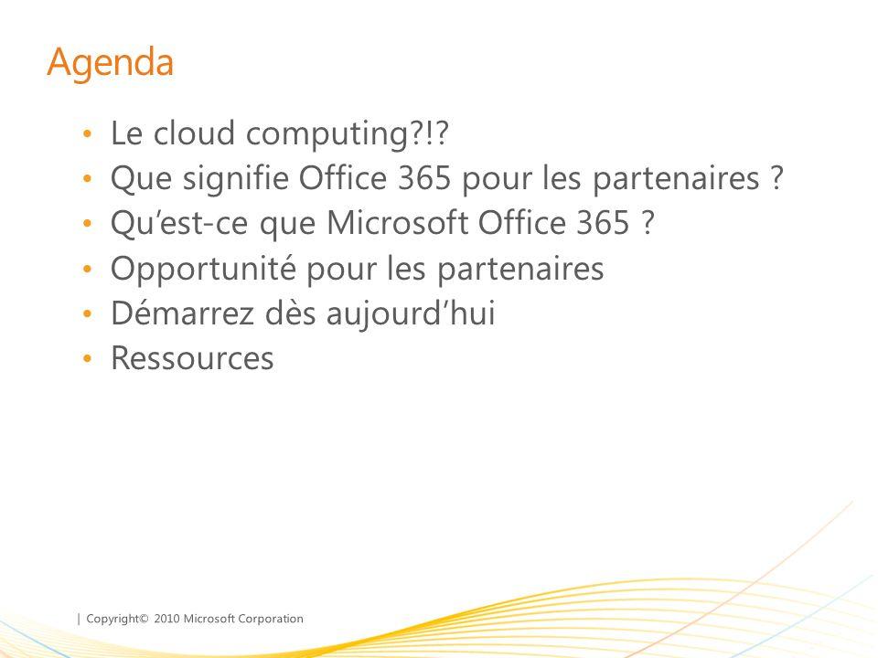 | Copyright© 2010 Microsoft Corporation Agenda Le cloud computing?!? Que signifie Office 365 pour les partenaires ? Quest-ce que Microsoft Office 365