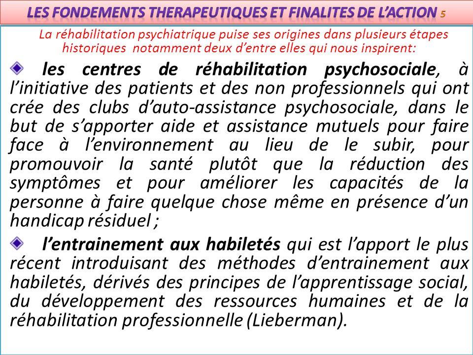 La réhabilitation psychiatrique puise ses origines dans plusieurs étapes historiques notamment deux dentre elles qui nous inspirent: les centres de ré