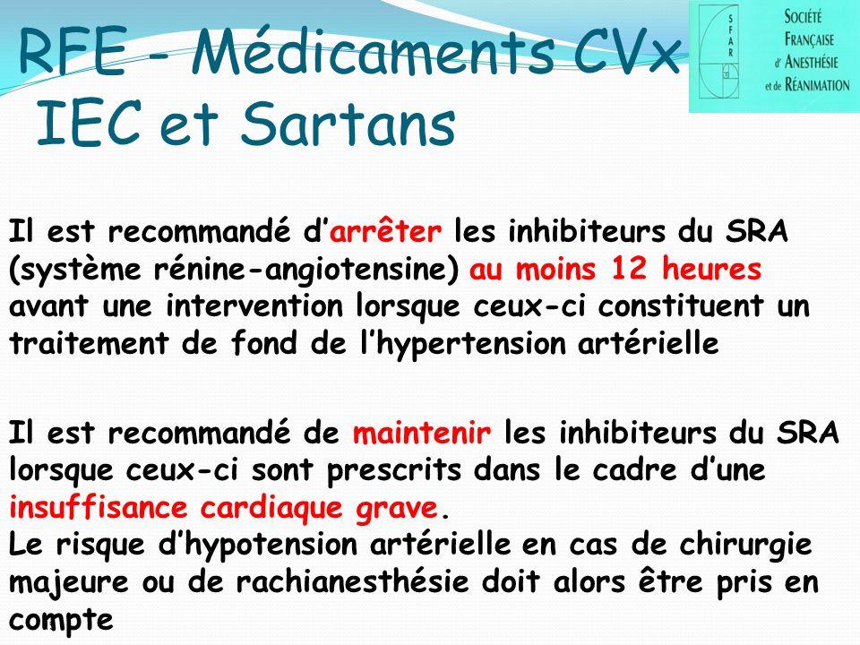 19 RFE - Médicaments CVx IEC et Sartans Il est recommandé darrêter les inhibiteurs du SRA (système rénine-angiotensine) au moins 12 heures avant une intervention lorsque ceux-ci constituent un traitement de fond de lhypertension artérielle Il est recommandé de maintenir les inhibiteurs du SRA lorsque ceux-ci sont prescrits dans le cadre dune insuffisance cardiaque grave.