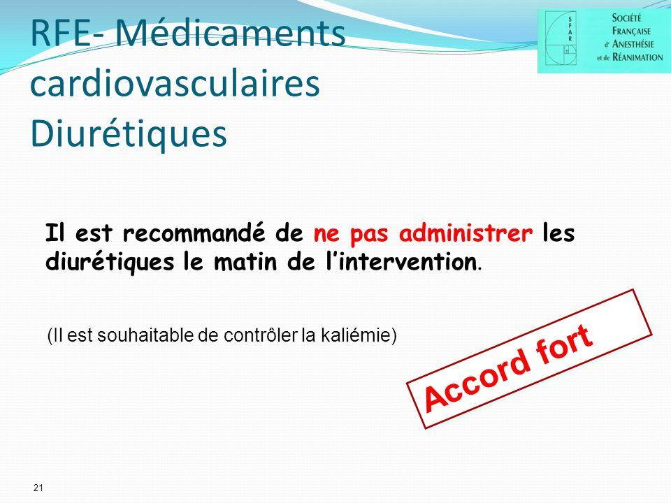 RFE- Médicaments cardiovasculaires Diurétiques 21 Il est recommandé de ne pas administrer les diurétiques le matin de lintervention.