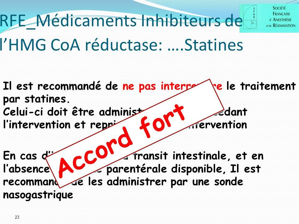 23 RFE_Médicaments Inhibiteurs de lHMG CoA réductase: ….Statines Il est recommandé de ne pas interrompre le traitement par statines.