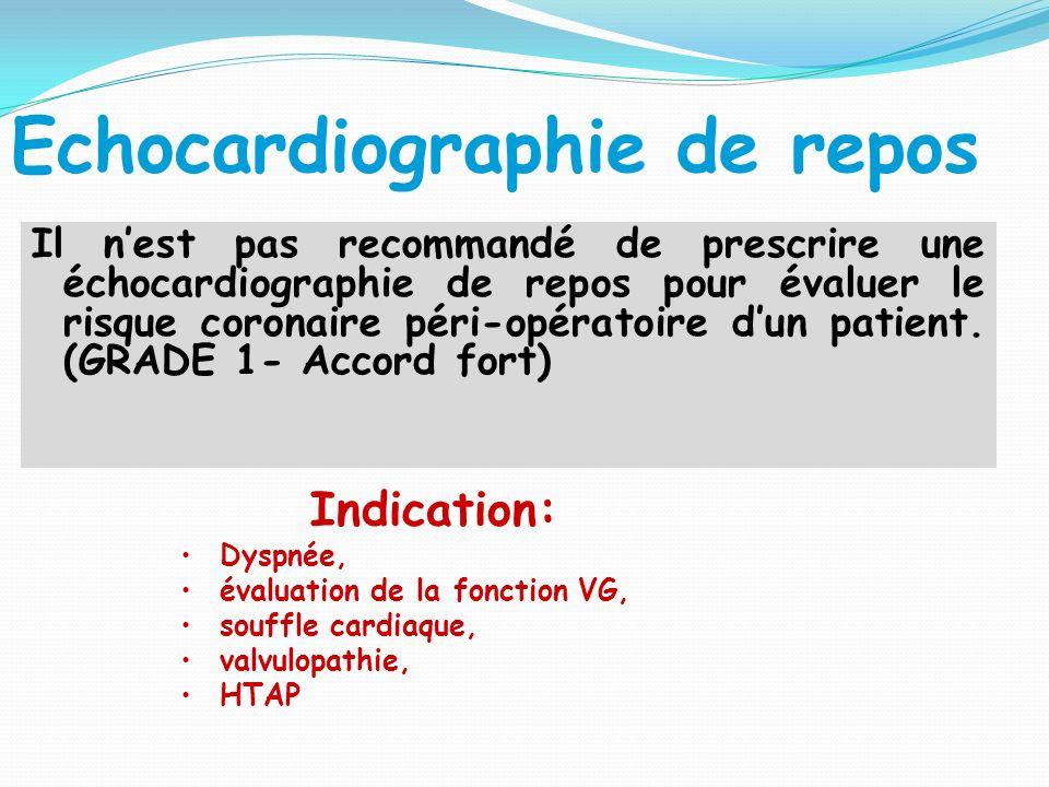 Echocardiographie de repos Il nest pas recommandé de prescrire une échocardiographie de repos pour évaluer le risque coronaire péri-opératoire dun patient.
