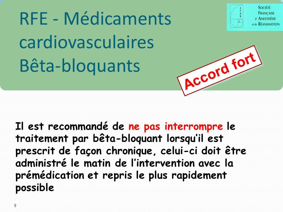 9 Accord fort RFE - Médicaments cardiovasculaires Bêta-bloquants Il est recommandé de ne pas interrompre le traitement par bêta-bloquant lorsquil est prescrit de façon chronique, celui-ci doit être administré le matin de lintervention avec la prémédication et repris le plus rapidement possible