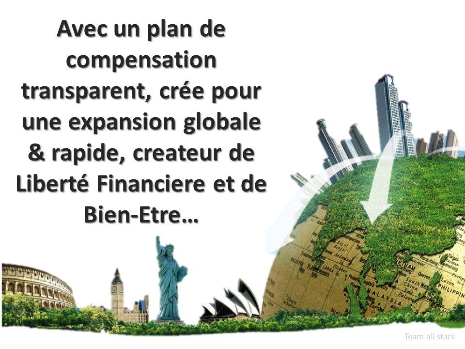 Avec un plan de compensation transparent, crée pour une expansion globale & rapide, createur de Liberté Financiere et de Bien-Etre… Team all stars