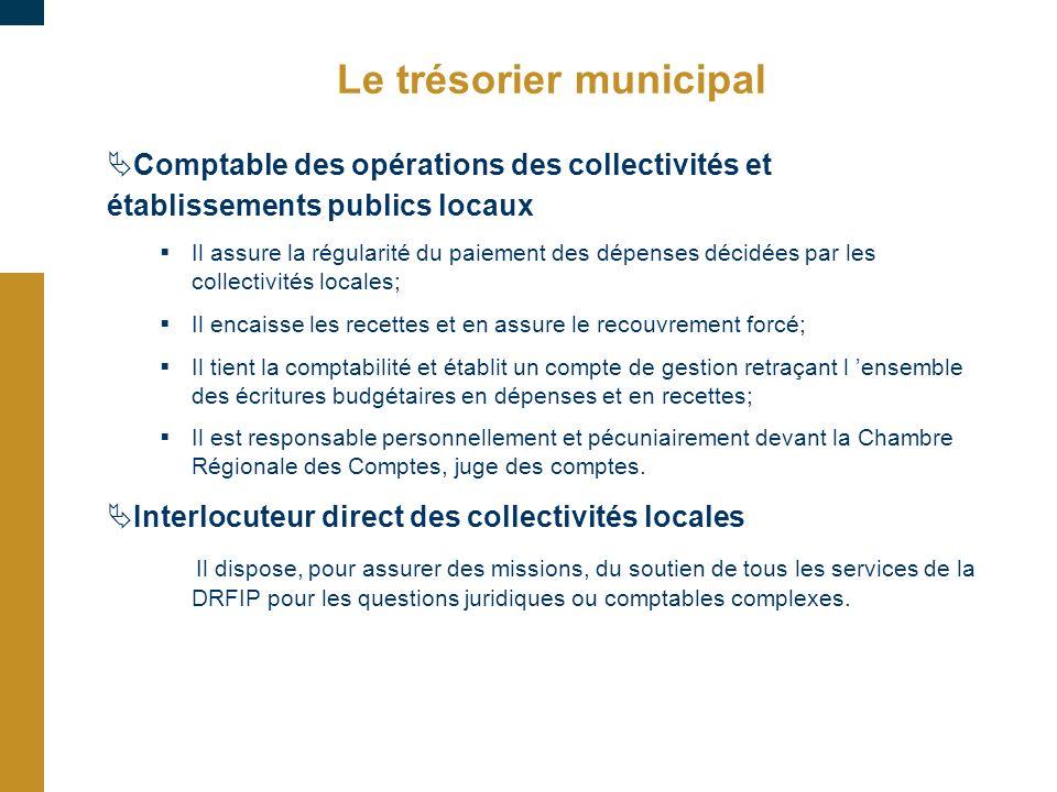 Le trésorier municipal Comptable des opérations des collectivités et établissements publics locaux Il assure la régularité du paiement des dépenses dé