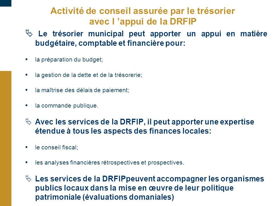 Activité de conseil assurée par le trésorier avec l appui de la DRFIP Le trésorier municipal peut apporter un appui en matière budgétaire, comptable e