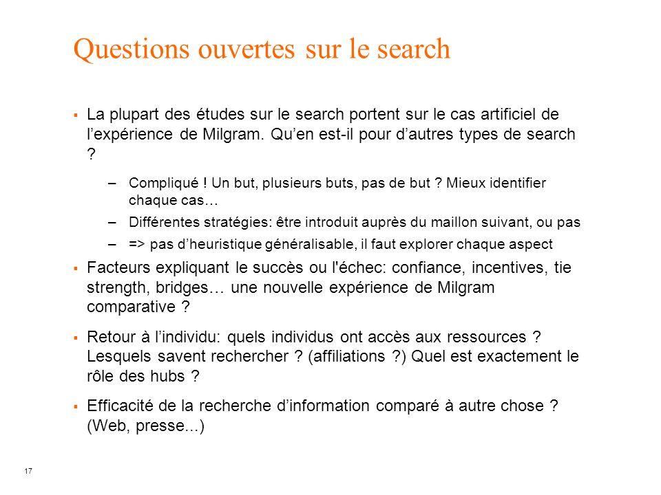 17 Questions ouvertes sur le search La plupart des études sur le search portent sur le cas artificiel de lexpérience de Milgram. Quen est-il pour daut