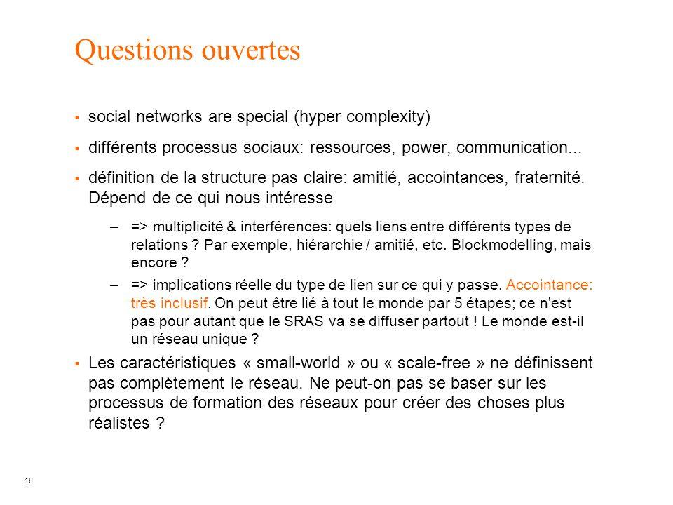 18 Questions ouvertes social networks are special (hyper complexity) différents processus sociaux: ressources, power, communication... définition de l