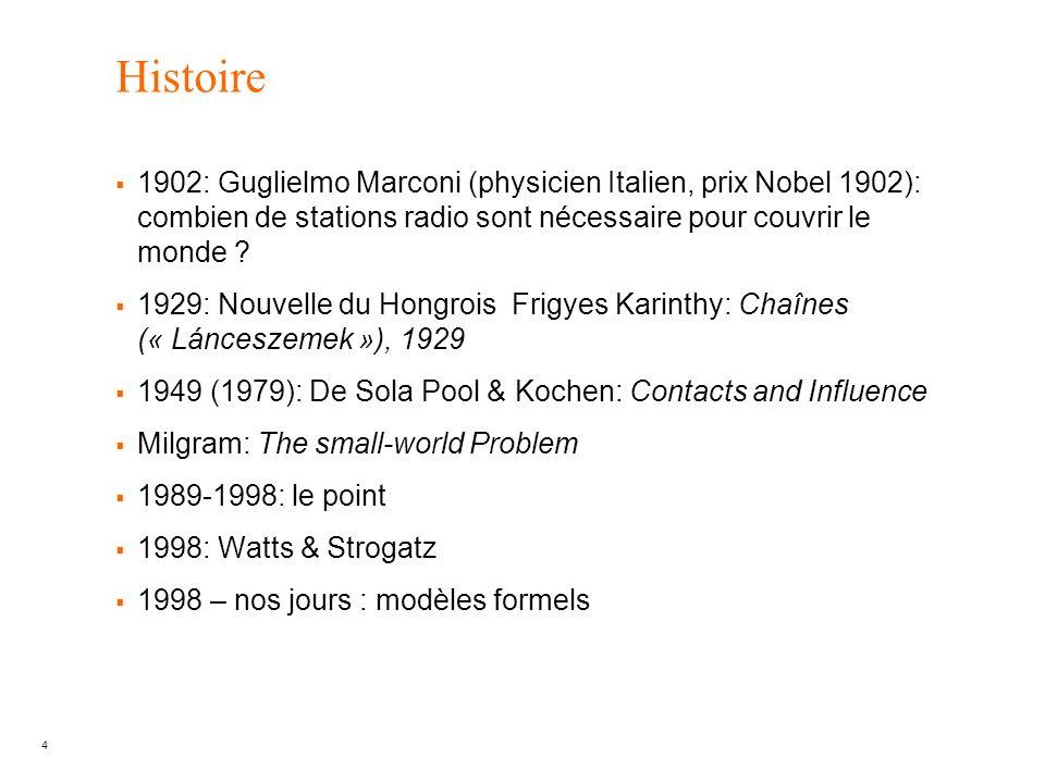 4 Histoire 1902: Guglielmo Marconi (physicien Italien, prix Nobel 1902): combien de stations radio sont nécessaire pour couvrir le monde ? 1929: Nouve